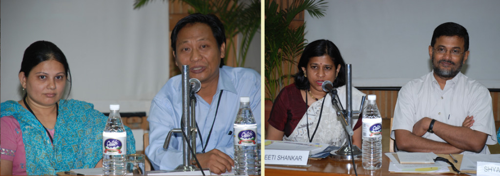 Gazala Paul (Founder, Samerth Trust, Ahmedabad), Leban Serto (Director, Center for Peace Education Manipur, Imphal), Preeti Shankar (Chief Editor, City Montessori School, Lucknow), and Shyam Menon (Vice Chancellor, Ambedkar University, Delhi) at the First National Workshop for School Teachers on Education for Peace and Multiculturalism in India held in April 2008.