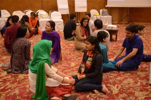 College students from Delhi and Kashmir engage in one-on-one conversations at a workshop to build cross-region youth collaborations titled Exploring Partnerships for Peace.