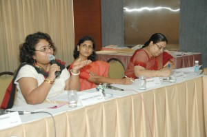 Meghna Guha Thakurta (Professor, International Relations, University of Dhaka, Dhaka), Uma Vangal (Professor, Visual Communication, L.V. Prasad Film and Television Academy, Chennai), and Swarna Rajagopalan (Founder, Chaitanya: The Policy Consultancy, Chennai) at a forum session on Disasters, Displacement, and Security.